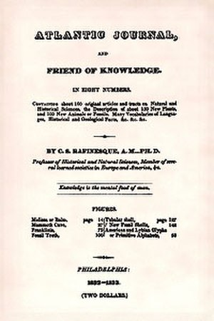 Constantine Samuel Rafinesque - Atlantic Journal (1832–1833)
