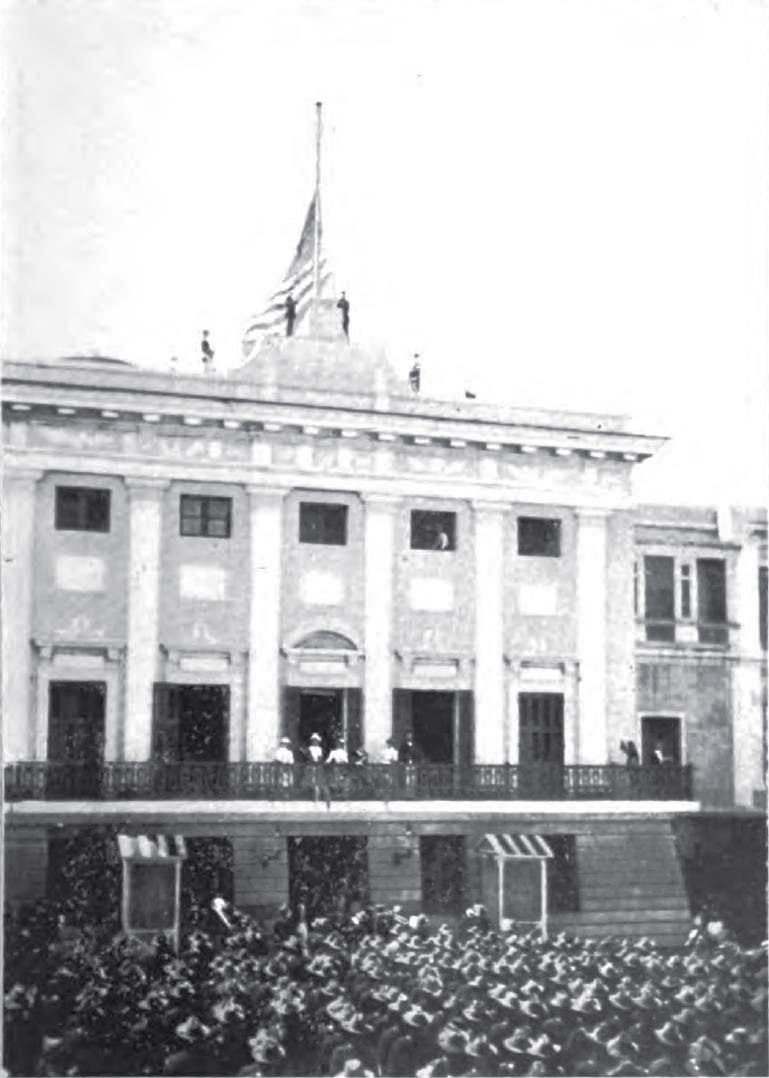 Raising the U.S. flag over San Juan, October 18, 1898