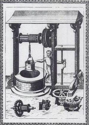 Agostino Ramelli - Description of a windlass well by Agostino Ramelli, 1588