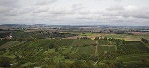 Kraichgau - View from the Ravensburg near Sulzfeld over the Kraichgau hills to their highest point, Burg Steinsberg (centre, on the horizon)