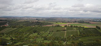 Kraichgau - View from the Ravensburg near Sulzfeld over the Kraichgau hills to their highest point, Burg Steinsberg (centre, on the horizon)