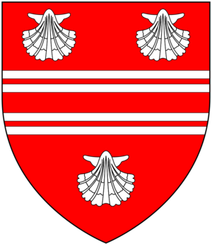 Christopher Rawlinson (antiquary) - Arms of Rawlinson: Gules, two bars gemelles between three escallops argent