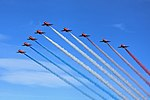 Red Arrows arrival at the 2015 Scottish Airshow.jpg