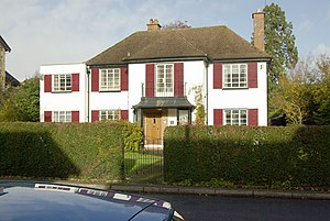 English: Red Shutters This house in Garth Road...