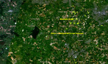 Satelitte image of the valley showing lakes and fields. The captions label Bath and North East Somerset and Wandyke districts