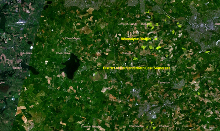 The Chew Valley area in a satellite image
