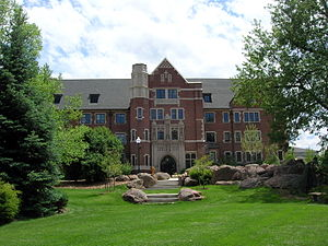 Regis University - Carroll Hall from the garden to the north.