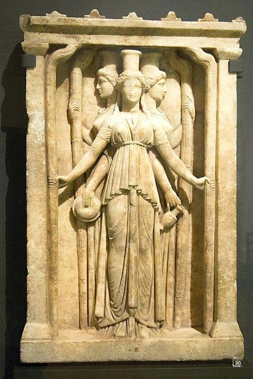 Relief triplicate Hekate marble, Hadrian clasicism, Prague Kinsky, NM-H10 4742, 140995