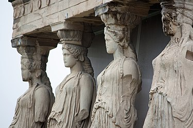 Replicas of the Caryatids at the Erectheum 2010 closeup.jpg
