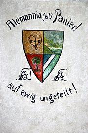 Restauriertes Wappen Alemannia Karzer Freiburg