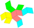Rhombic dodecahedron net-4color.png