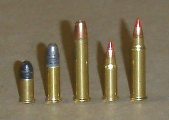 Rimfire ammunition - Rimfire ammunition, from left to right, .22 Short, .22 Long Rifle, .22 WMR, .17 HM2, .17 HMR
