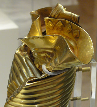Ringlemere Cup - Side view showing rivets and pointillé lip decoration.