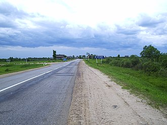 Bolsheselsky District - The Yaroslavl–Uglich road near the village of Miglino in Bolsheselsky District