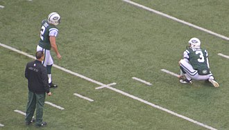 Nick Folk - Folk (left) playing for the New York Jets in 2012.