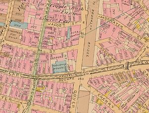 Franklin Square (Manhattan) - 1885 map of the Franklin Square area (North is right)