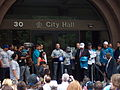 Rochester Knighthawks - 2012 - Mike Accursi at city ceremony.JPG