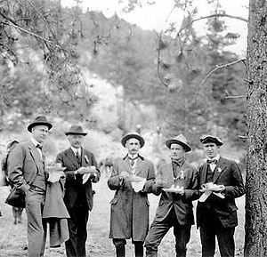 Robert Sterling Yard - The 1915 dedication of Rocky Mountain National Park; (l to r): Stephen Mather, Yard, acting superintendent Trowbridge, NPS photographer Herford T. Cowling, and Horace M. Albright