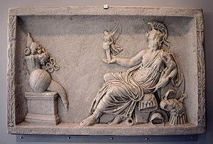 Religion in ancient Rome - Defaced Dea Roma holding Victory and regarding an altar with a cornucopia and other offerings, copy of a relief panel from an altar or statue base
