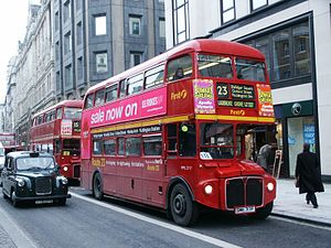 London Buses route 23 - First London AEC Routemaster on The Strand in January 2003