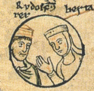 Neuchâtel - Rudolph and his sister Bertha in the pedigree of the Ottonian dynasty, Chronica sancti Pantaleonis, Cologne (13th century)