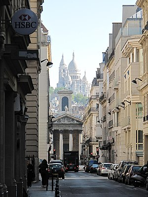 Rue Laffitte - View looking towards the church of Notre-Dame-de-Lorette, with Sacré-Coeur in the background.