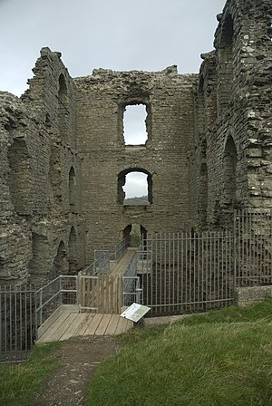 Clun Castle - The ruined great keep of Clun Castle, designed for the Fitz Alan family's residential use.