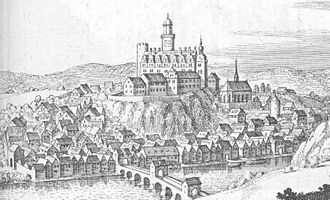 Runkel - Runkel – extract from the Topographia Hassiae by Matthäus Merian 1655