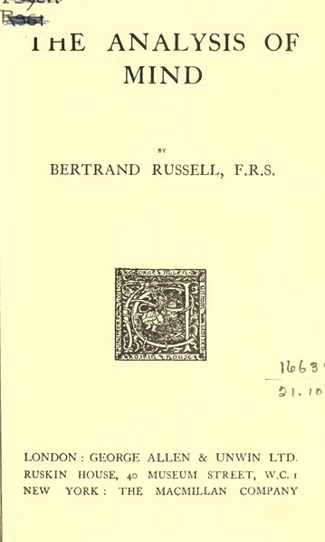 File:Russell - The Analysis of Mind, 1921.djvu