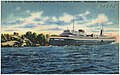 S. S. Milwaukee Clipper passing sand dunes at entrance to harbor, Muskegon, Michigan.jpg