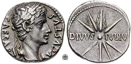 A denarius minted c. 18 BC. Obverse: CAESAR AVGVSTVS; reverse: comet of eight rays with tail upward; DIVVS IVLIV[S] (DIVINE JULIUS). S0484.4.jpg
