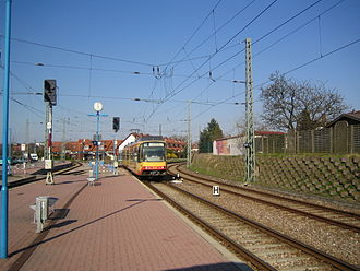 Katzbach Railway - Stadtbahn train from Odenheim at the entrance to Ubstadt Ort station