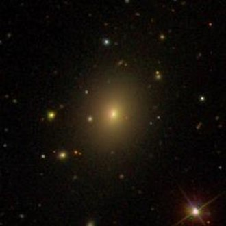 Blazar - Sloan Digital Sky Survey image of blazar Markarian 501, illustrating the bright nucleus and elliptical host galaxy.