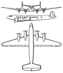 SNCASE SE.161 Languedoc 3-view Les Ailes February 22, 1947.png