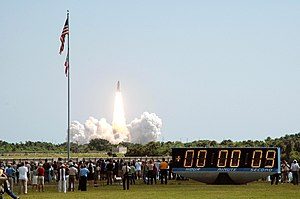 STS-114 - Space Shuttle ''Discovery'' rising from the pad at Kennedy Space Center, Florida, 10:39 am, 26 July 2005.