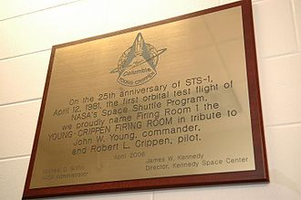STS-1 - The plaque of the Young-Crippen Firing Room in the Launch Control Center at Kennedy Space Center.