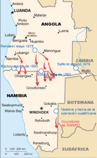 SWAPO and SA operations 1978-1980, Angola civil war es.png