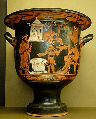 Campanian vase painting - Sacrifice scene on a bell krater by the Painter of the Sacrifice in the Louvre, circa 330/320 BC. Paris: Louvre.