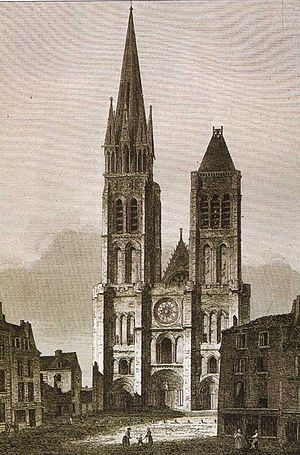 Basilica of St Denis - West façade of Saint Denis, before the dismantling of the north tower (c. 1844 – 1845)