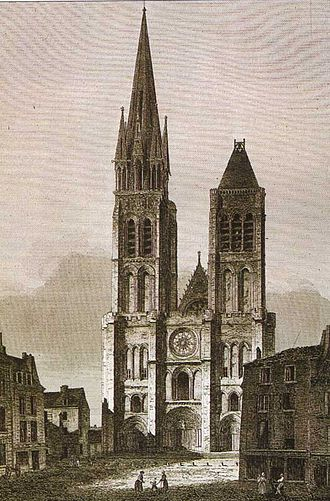 Basilica of Saint-Denis - West façade of Saint Denis, before the dismantling of the north tower (c. 1844 – 1845)
