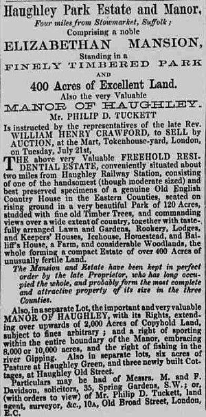 Haughley Park - Sale notice of Haughley Park in 1868