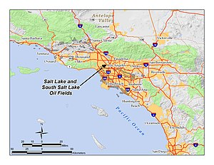 Salt Lake Oil Field - Location of the Salt Lake Oil Field in the context of the Los Angeles Basin and Southern California. Other oil fields are shown in gray.