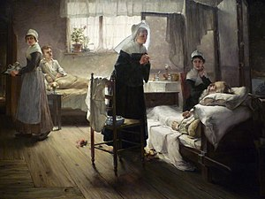 "Evangeline - Samuel Richards's painting ""Evangeline Discovering Her Affianced in the Hospital"""