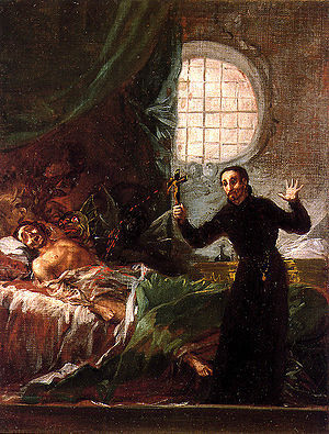Francis Borgia, 4th Duke of Gandía -  Borgia and the impenitent dying man. by Francisco Goya.