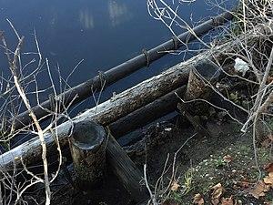 San Lorenzo River - The eroded remains of the original San Lorenzo River Boardwalk.