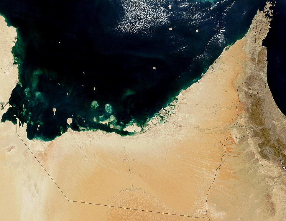 Satellite image of United Arab Emirates in October
