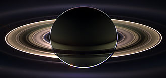 Planetshine - Ringshine on Saturn as it eclipses the Sun, seen from behind from the Cassini orbiter.
