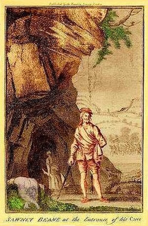 Anti-Scottish sentiment - Sawney Beane at the Entrance of His Cave. published in the 1720s The Newgate Calendar caption: The woman in the background carries a severed leg.