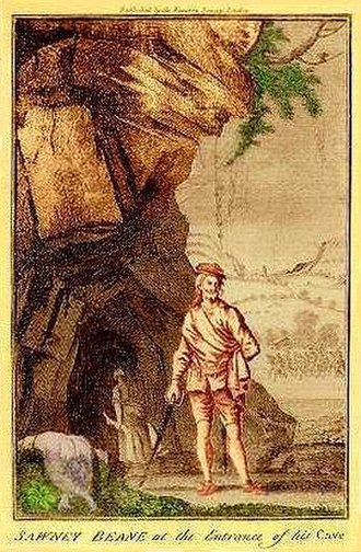 Sawney Bean - Sawney Bean at the Entrance of His Cave. Note the woman in the background carrying two disembodied legs and the dead body nearby.
