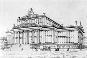 Konzerthaus Berlin - Karl Friedrich Schinkel's design, copper engraving, about 1830.